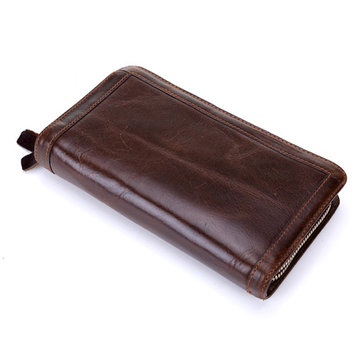Men Genuine Leather Bifold Long Wallet Vintage Clutches Bag
