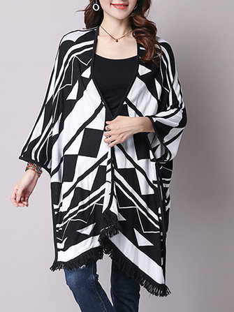 Casual Women Loose Printing Fringed Knit Shawl Cardigan