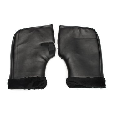 Pair PU Leather Motor Bike Handlebar Hand Cover Gloves Winter Warmer