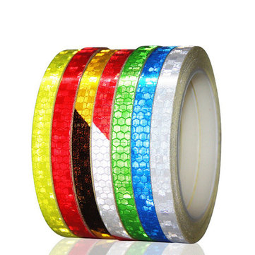 BIKIGHT 1cmx8m Fluorescent Bike Reflective Stickers MTB Road Cycling Bicycle Wheel Sticker Tire Strip Decal