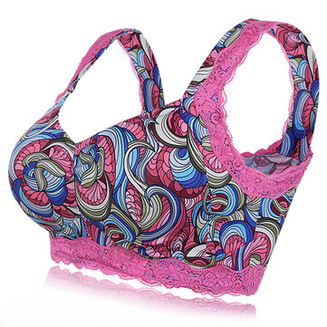 Comfy Printed Multicolor Lace-trim Wireless Full-coverage Healthy Vest Sleeping Bra