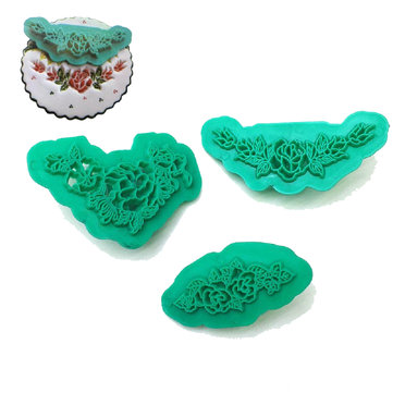 3pcs Flower Cookie Cutter Plastic Sugar Craft Embosser Fondant Cutter Baking Mold Biscuit Mold Cookie Mold