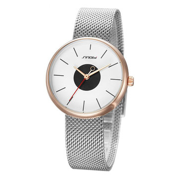 SINOBI 9700 Luxury Fashion Simple Dial Stainless Steel Strap Quartz Women Watch