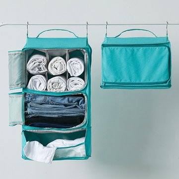 Portable Travel Removable Large Capacity Space Saving Hanging Cloth Storage Bag Canvas Cloth Closet