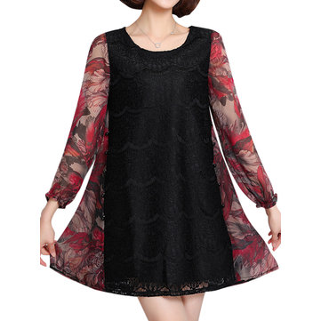 Fashion Women Floral Printed Lace Patchwork Mini Dress