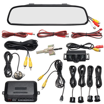 4.3 Inch LCD Mirror Car Rear View Monitor Reversing Camera Parking System 4 Sensors