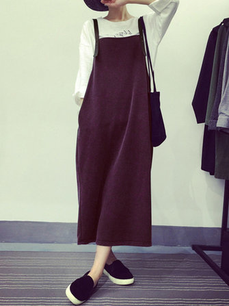 Women Sleeveless Strappy Loose Casual Mid-long Dress