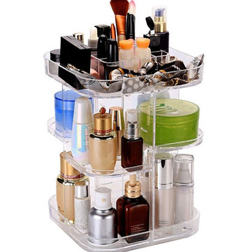 7 Layers Acrylic Makeup Storage Jewelry Display 360° Rotating Case Acrylic Cosmetic Organizer