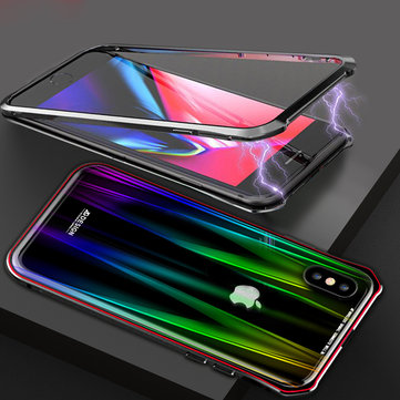 Luphie Protective Case For iPhone XS Max Gradient Magnetic Adsorption Aluminum Tempered Glass Full Body Case