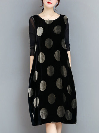 Elegant Polka Dot Velvet Loose Dress