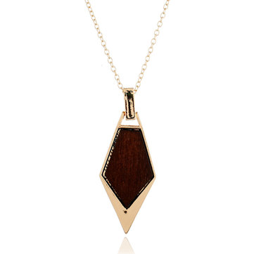 Fashion Geometric Long Necklace Simple Wood Gold Chain Statement Necklace for Women