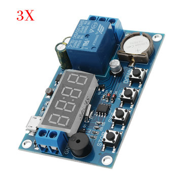 3pcs DC 5V To 60V Real-time Relay Module Clock Synchronization Timer Module Time Control Delay 24 Hours Timing 5 Time Segments