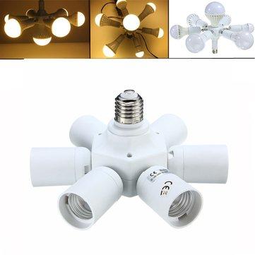 7 in 1 E27 ถึง E27 Base ไฟ LED ตัวยึดอะแดปเตอร์หลอดไฟซ็อกเก็ต Splitter