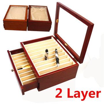 20 pièces présentoir en bois de stylos de plume avec le récipient de couleur rouge de vent antique