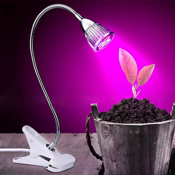 5W 220V Desktop Clip Flexible Neck 5 LED Plant Grow Light for Home Office Garden Greenhouse