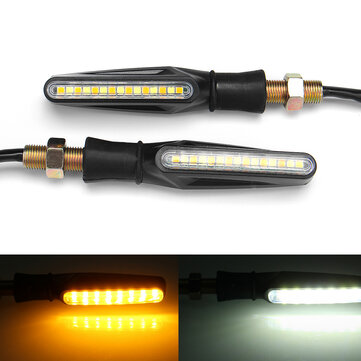Buy Pair 12V Motorcycle Dual Color LED Turn Signal Indicator DRL Flowing Sequential Lights for $5.99 in Banggood store
