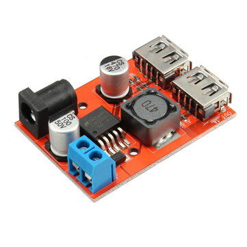 10Pcs DC-DC 9V/12V/24V/36V To 5V Dual USB Buck Module Vehicle Charging Solar 3A Voltage Regulator Board