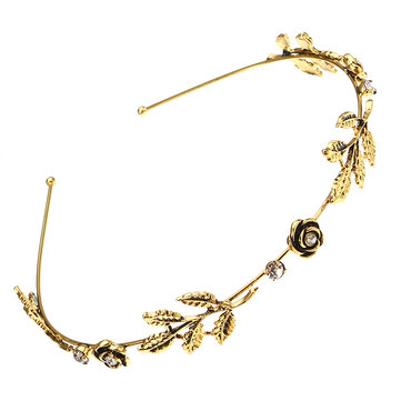 Vintage Rhinestone Flower Leaf Charm Antique Silver Gold Color Hair Band for Women Hair Accessories