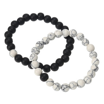 2 Pcs White Turquoise Handmade Energy Beaded Bracelet Couple Chain for Men Women