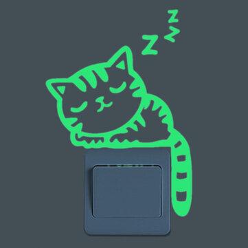 잠자는 고양이 창조적 인 빛나는 스위치 스티커 어두운 벽 전사 무늬 홈 장식에 탈착식 글로우
