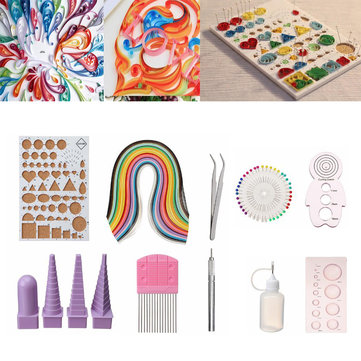 50 Colors Quilling Paper Tools Set Handmake DIY Craft Handmake Work Board Mould Kit