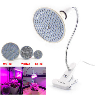 60 126 200 LED Plant Grow Light Bulb 360 Desk Clip Flexible Growth Lamp for Greenhouse Flower