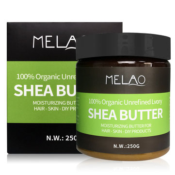 Melao Natural Shea Butter Moisturizing Butter for Hair Skin Body Cream Facial 250g