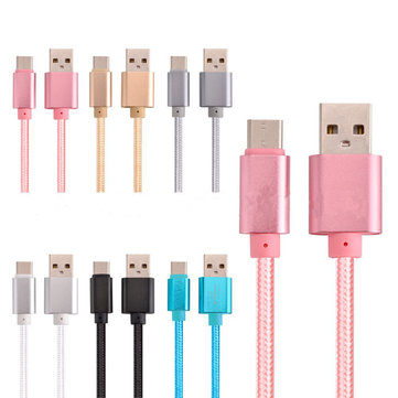 2.1A Braided Type C Data Sync Charging Cable 1m For OnePlus 5 Xiaomi 6 Samsung Note 8 S8