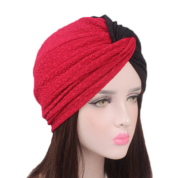 Women Vintage Muslim Polyester Crossed Chemical Turban Hat