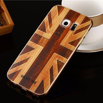 Wooden Pattern Hard Back Case Gold Alloy Frame Protective Shell for Samsung Galaxy S6 Edge