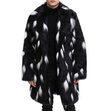 Mens Faux Fur Coat Black White Winter Warm Mid Long Jacket