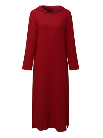 M-5XL Women Pure Color Split Vintage Hooded Dress