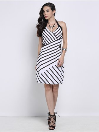 Black and White Striped Sexy Backless Halter V-Neck Bodycon Mini Dress