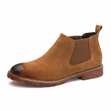 Men England Style Suede Leather Soft Sole Ankle Boots