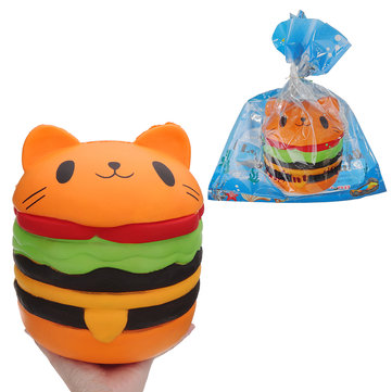 Huge Cat Burger Squishy 8.66'' Jumbo 20*22CM Soft Slow Rising With Packaging Collection Gift Giant Toy
