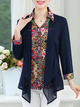 Kvinnor Fake Two Pieces Cardigan Floral Print Shirts