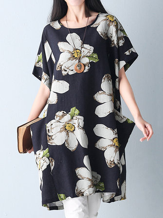 Women Floral Print Loose Short Sleeve Summer Mini Dresses