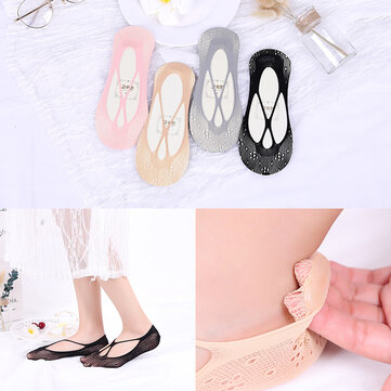 Cute Non Slip Low-Cut Ankle Socks Hollow Out Breathable Boat Socks For Women