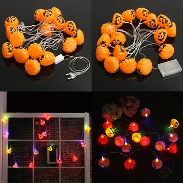 Battery Plug Powered 16 LEDs Pumpkin Multi-color Fairy String Lights For Halloween Christmas