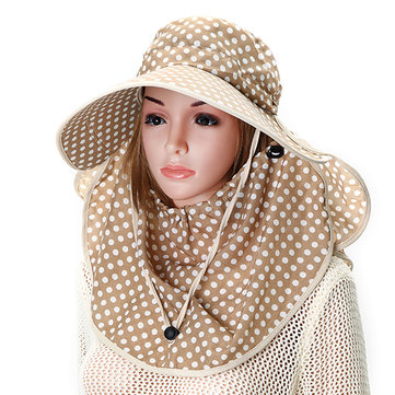 Women Anti-UV Sunshade Hat Face Neck Protective Polka Dot Printed Big Brim Outdoor Gradening Cap
