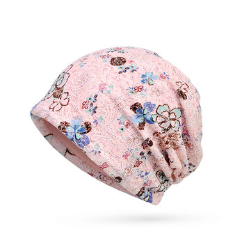 Women Lace Jacquard Beanie Hat Cotton Bonnet Flower Print Casual Autumn Windproof Cap