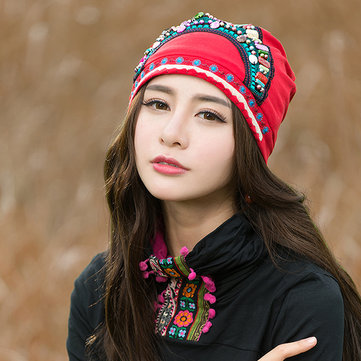 Women Ethnic Embroidery Cotton Elastic Beanie Hat Vintage Beads Decorative Caps