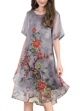 Women Short Sleeve Layered Chiffon Floral Dress