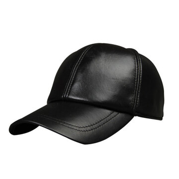 New Men Leather Warm Baseball Cap Adjustable Winter Black Trucker Snapback Hats