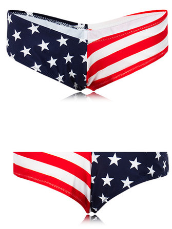 Women Elastic Flag Bohemia Brazilian Bikini Bottom Swimwear