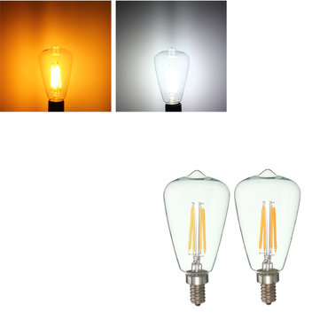 Retro E12 4W Edison Filament Bulb LED Warm White Pure White Light Lamp Candle AC 110V