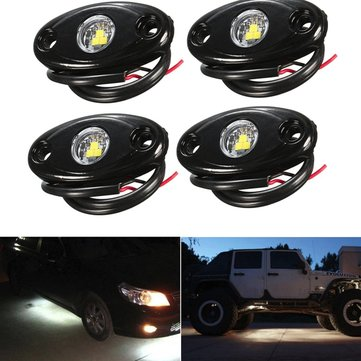 4pcs 9W LED Rock Light Chassis Lights Ship Deck Lamp For JEEP Off Road SUV Boat Car Truck