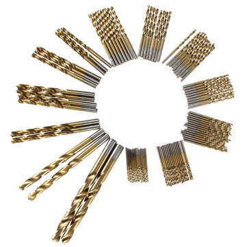 99pcs 1.5mm - 10mm Titanium Coated High Speed Steel Drill Bit Set Manual Twist Drill Bits
