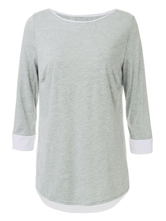 Casual Bow Chiffon Patchwork Gray 3/4 Sleeve Round Neck Women T-Shirt