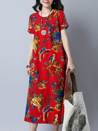 Folk Style Butterfly Floral Printed Cotton Midi Dress For Women